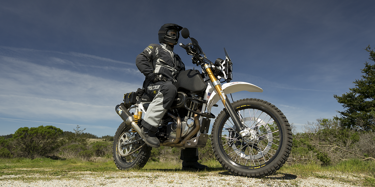 Jim off-road on the SC3 Adventure Dual Sport Motorcycle